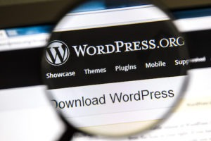 Ostersund, Sweden - August 3, 2014: Close up of WordPress website under a magnifying glass. WordPress is a free and open source blogging tool.