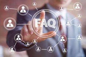 Man touch FAQ on virtual screen