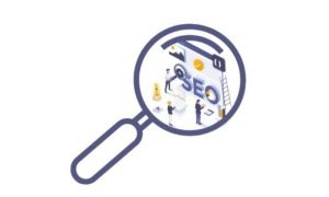 graphic of a magnify glass looking at a team of a people working on the word SEO